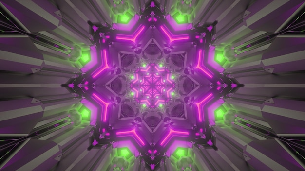 3d illustration of abstract background of ornamental tunnel in shape of flower illuminated with green and purple neon lights