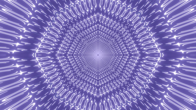 3d illustration of abstract background of purple endless tunnel loop with glowing light