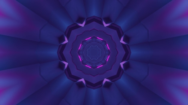 3d illustration of abstract background of purple round shaped corridor