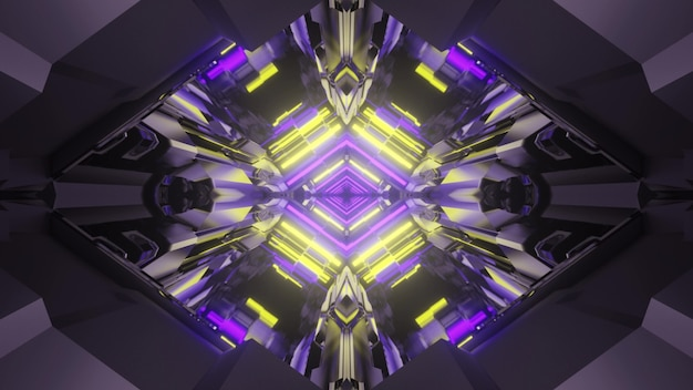 3d illustration of abstract background of rhombus shaped tunnel glowing with yellow and purple lights