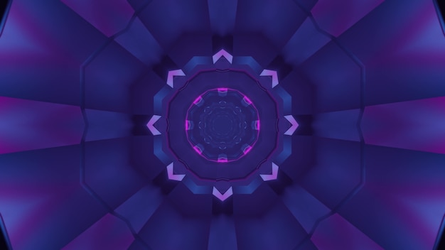 3d illustration of abstract background of round shaped corridor glowing with purple color
