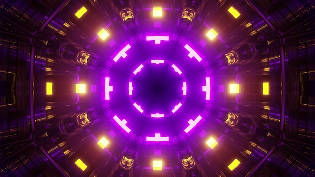 3d illustration of abstract background of round shaped geometric tunnel with bright purple and yellow neon illumination