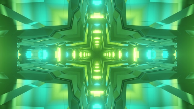 3d illustration of abstract background of sci fi geometric tunnel