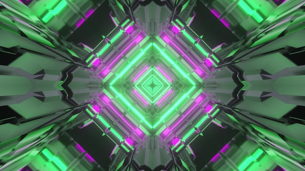 3d illustration of abstract background of sci fi tunnel in shape of rhombus glowing