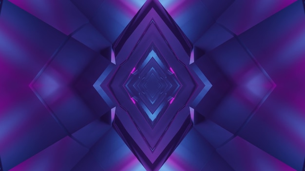 3d illustration of abstract background of sci fi tunnel in shape of rhombus illuminated