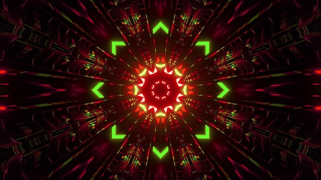 3d illustration of abstract background of symmetric creative tunnel with arrows and lines glowing with red and green neon lights