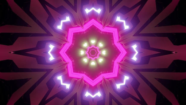 3d illustration of abstract background of symmetric tunnel with pink and purple neon lights