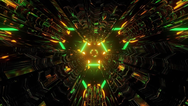 3d illustration of abstract background of triangle shaped sci fi tunnel glowing with bright green and orange illumination