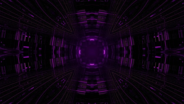 3d illustration of abstract background of tunnel with geometric square shapes with purple lights