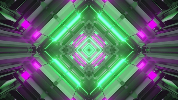 3d illustration of abstract background of vivid rhombus shaped tunnel