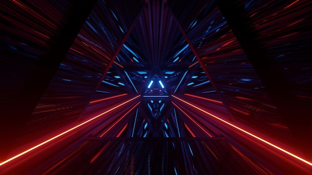 3d illustration of abstract background with endless triangle shaped corridor with red and blue neon lights in 4k uhd