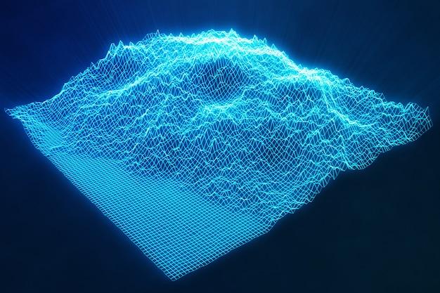 3 dイラスト抽象的な青い風景bacgkround。サイバースペースグリッド。クラウドコンピューティングにおけるインターネット接続の概念。