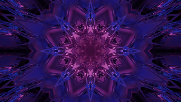 光沢のあるネオンクリスタルの形をした幾何学的な万華鏡のようなパターンと幻想的なsf宇宙ポータルの目の錯覚を作成する3dイラスト抽象的なカラフルな背景