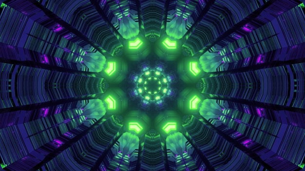 円形の構造と明るい緑色のネオン照明を備えた幻想的な仮想空間トンネル内の3dイラスト抽象的なカラフルな幾何学的ビュー