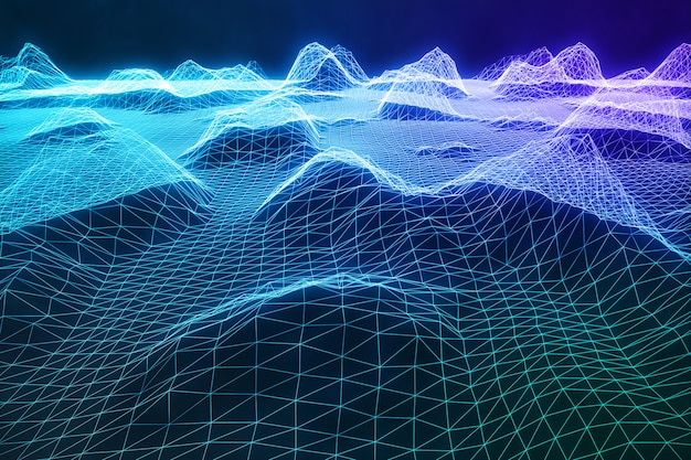 3d illustration abstract digital wireframe landscape. cyberspace landscape grid. 3d technology. abstract internet connection in cloud computing, communications network blue landscape