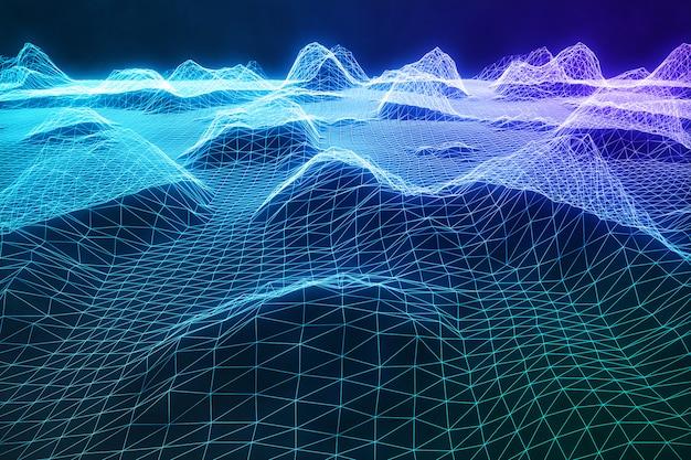 3d 그림 추상 디지털 와이어 프레임 풍경입니다. 사이버 공간 조경 그리드. 3d 기술. 클라우드 컴퓨팅, 통신 네트워크 파란색 풍경에 추상 인터넷 연결