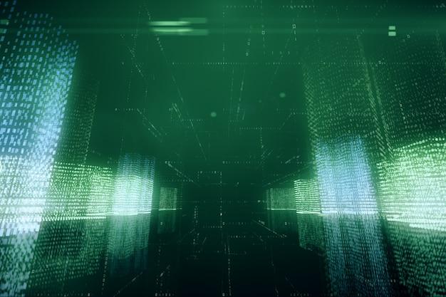 バイナリコードスペースの仮想デジタル都市の3 dイラスト抽象飛行