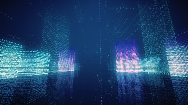 3d illustration abstract flight in a virtual digital city in a binary code space