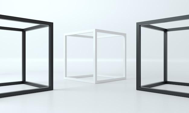 3d иллюстрации. абстрактные формы кадра из белых и черных кубиков в фотостудии. фон для баннера голубого цвета