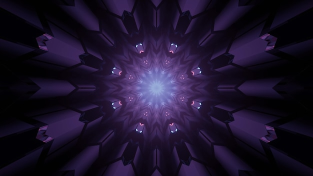 3d illustration abstract futuristic background of glowing round shaped fantastic portal with geometric pattern in purple neon shades