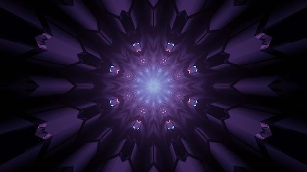 紫のネオンの色合いの幾何学模様と輝く丸い形の幻想的なポータルの3dイラスト抽象的な未来的な背景