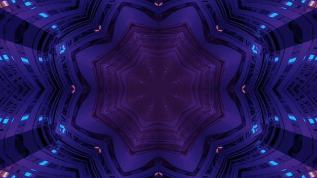 3d illustration abstract futuristic background with floral geometric kaleidoscopic ornament and glowing neon lights inside of dark purple tunnel