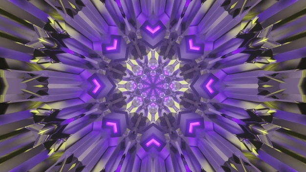 3d illustration of abstract geometric background of tunnel with arrows and lines glowing with purple neon light