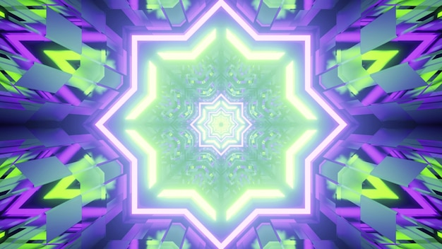 3d illustration of abstract of geometric endless tunnel glowing with green and purple neon lights
