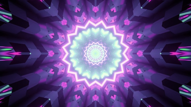 3d illustration of abstract of geometric tunnel with shapes and lines glowing with blue and purple neon illumination