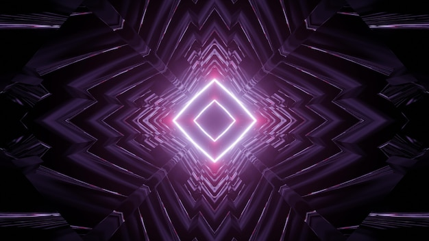 3d illustration of abstract geometric tunnel