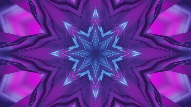 3d illustration of abstract geometrical background of kaleidoscopic corridor glowing