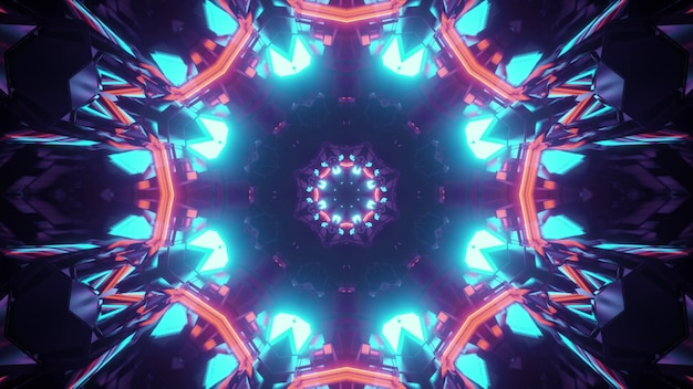 3d illustration of abstract geometrical background of kaleidoscopic endless tunnel in shape of flower illuminated by red and blue neon lights