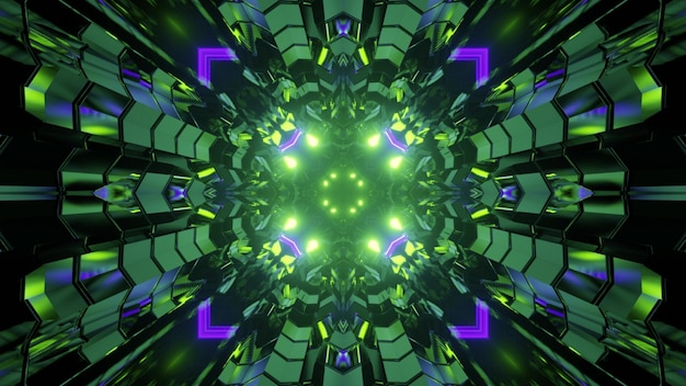 3d illustration of abstract geometrical background of tunnel with triangle brocks illuminated by green and purple lights