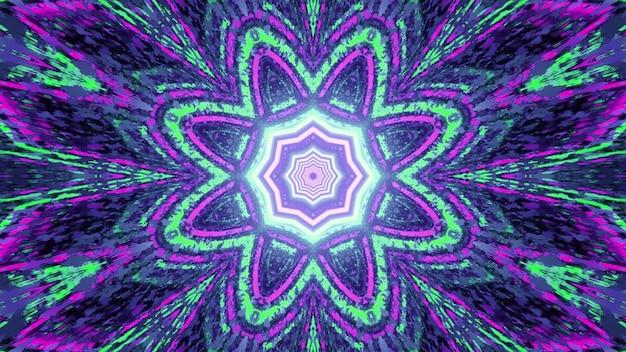 3d illustration of abstract geometrical floral pattern with symmetrical design in shiny green and violet neon colors