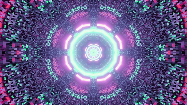 3d illustration of abstract geometrical of sci fi tunnel illuminated by blue and pink neon colors