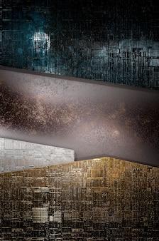 3dイラスト。抽象的な金、テキストのロゴ、コンセプトモダンで豪華な未来的な表面とパンフレットのための青と茶色の空白スペース