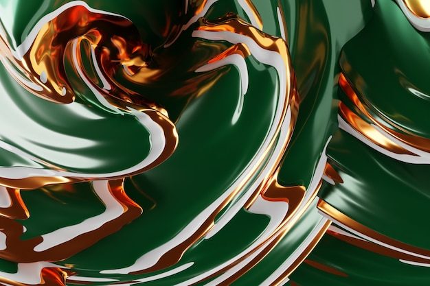 3d illustration of a abstract  green  and gold background with scintillating circles and gloss. illustration beautiful. abstract background with twirl effect