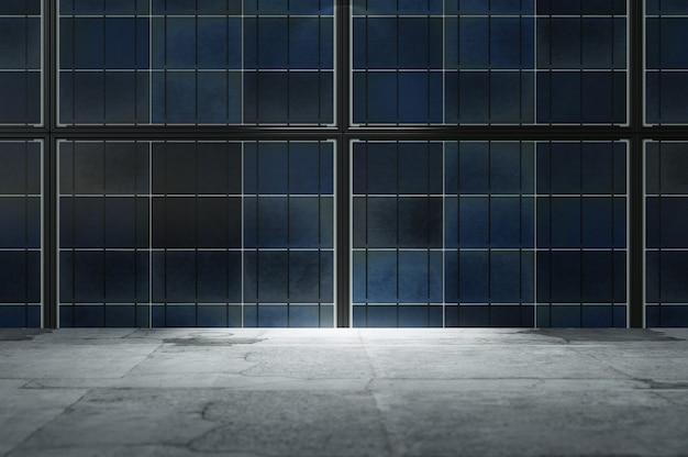 3d иллюстрации. абстрактный промышленный интерьер со стеной солнечных батарей и бетонным полом