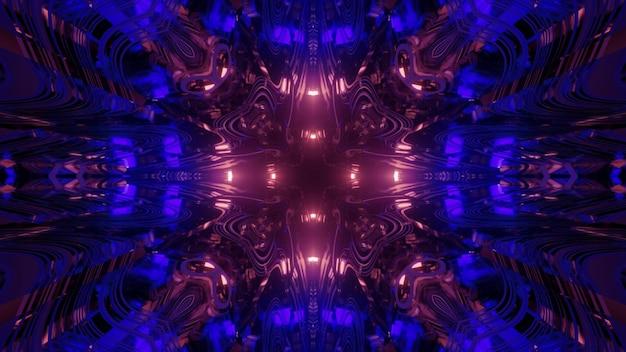 カラフルなネオン照明と歪んだデザインの幻想的な宇宙トンネル内の3dイラスト抽象