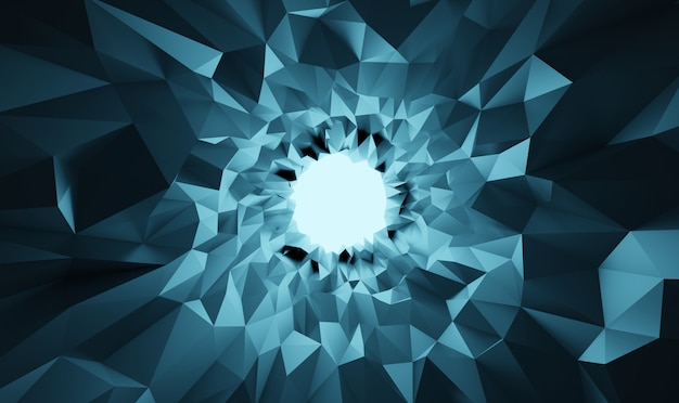 3d illustration abstract low poly crystal cave background