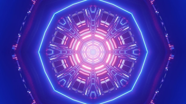 3d illustration of abstract octagon neon ornament glowing and forming bright blue tunnel