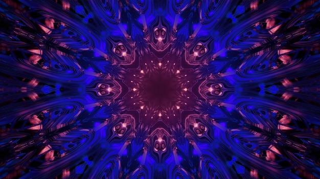 青とピンクのネオンライトで花の形をした輝くセルを持つ幻想的なsfラウンドゲートウェイの3dイラストの要約