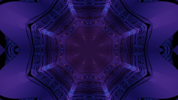 3d illustration abstract optical illusion background of glowing neon lights inside dark purple octagonal tunnel with reflecting walls