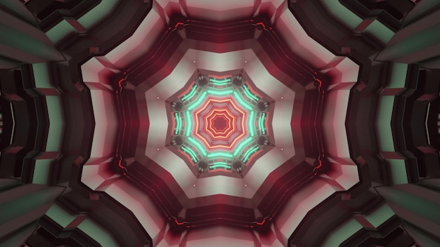 3d illustration abstract optical illusion background inside of endless sci fi tunnel with octagonal design and glowing neon lines