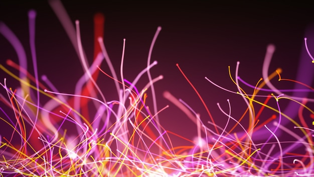 光ファイバーワイヤーとカメラの周りの粒子のカラフルな曲線の3 dイラストレーション抽象的な回転