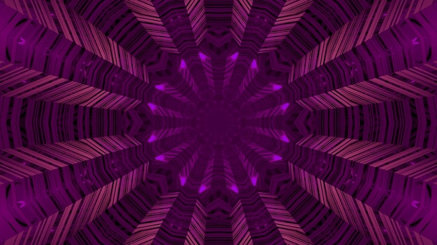 3d illustration of abstract of round shaped endless corridor with lines glowing with purple neon illumination