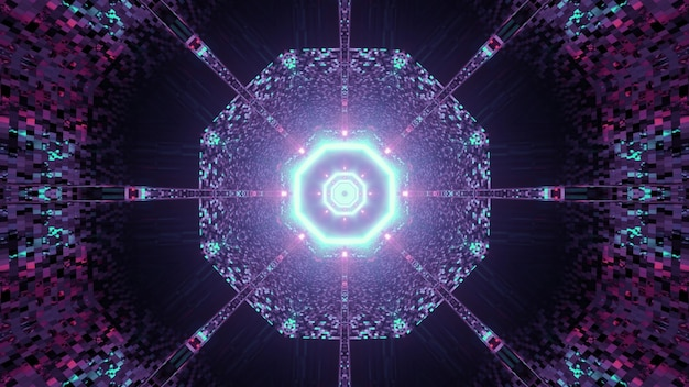 3d illustration of abstract of round shaped sci fi tunnel with reflection of pink and blue neon lights