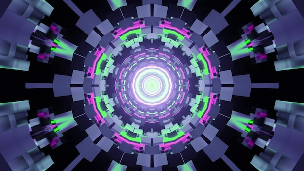 3d illustration of abstract of round shaped tunnel with bricks illuminated by green and purple neon lights