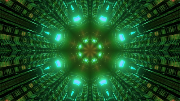 輝く対称的な緑色のネオン照明と光の反射を備えたパイプ型トンネルの3dイラスト抽象的なsf