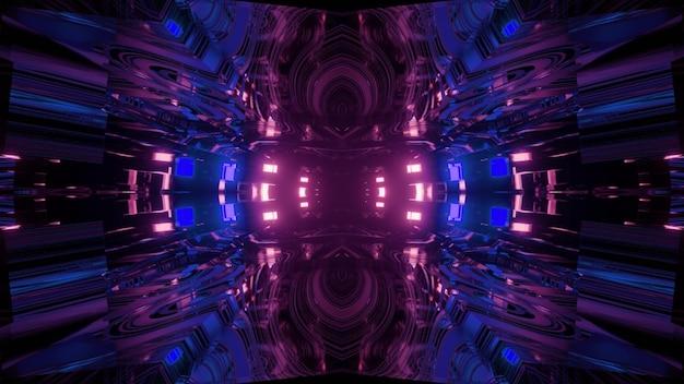明るくカラフルなネオンライトを反射する鏡面の暗いトンネルを通るモーション効果のある3dイラスト抽象的なsf